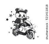 cute panda on a motorcycle.... | Shutterstock .eps vector #521411818