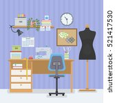 home room with workplace for... | Shutterstock .eps vector #521417530