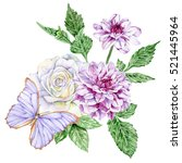 purple dahlias  white rose  and ... | Shutterstock . vector #521445964