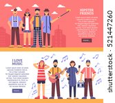 hipster horizontal banners with ... | Shutterstock .eps vector #521447260