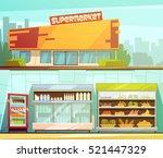 supermarket building entrance... | Shutterstock .eps vector #521447329