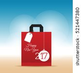paper bag red with happy new... | Shutterstock .eps vector #521447380