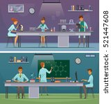 scientists and laboratory... | Shutterstock .eps vector #521447608