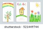 set of wax crayon kid s drawn... | Shutterstock .eps vector #521449744