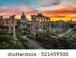 roman forum at sunrise in rome  ... | Shutterstock . vector #521459500