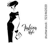 black and white retro fashion... | Shutterstock .eps vector #521462020