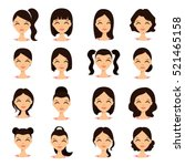 womens hairstyles. beautiful... | Shutterstock .eps vector #521465158