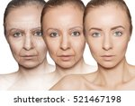 three ages of woman with skin... | Shutterstock . vector #521467198