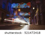 BARCELONA, SPAIN - DECEMBER 25, 2015: Christmas decorations and street lights - stock photo