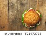 top view gourmet  hamburger on...   Shutterstock . vector #521473738