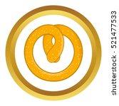 pretzel vector icon in golden...   Shutterstock .eps vector #521477533