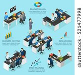 office isometric infographics... | Shutterstock .eps vector #521477998