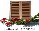 wooden window with flowery