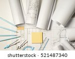 workplace of architect  ... | Shutterstock . vector #521487340