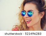 close up portrait of happy... | Shutterstock . vector #521496283