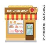 butcher shop  meat showcase ... | Shutterstock .eps vector #521508523