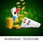 poker chips casino green poster.... | Shutterstock .eps vector #521521186