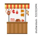 street fresh meat store.... | Shutterstock .eps vector #521522494