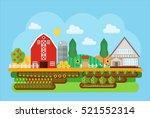 vector agricultural village... | Shutterstock .eps vector #521552314