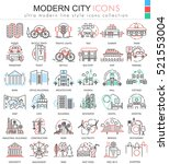 vector modern city color line...   Shutterstock .eps vector #521553004