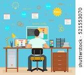man programmer back working on... | Shutterstock .eps vector #521553070
