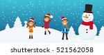 cute kids and snowman playing... | Shutterstock .eps vector #521562058