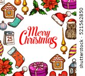 christmas day holiday poster.... | Shutterstock .eps vector #521562850