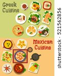 mexican and greek cuisine icon... | Shutterstock .eps vector #521562856