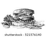 illustration of a burger ... | Shutterstock .eps vector #521576140