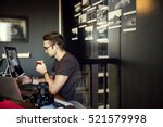 man busy photographer editing... | Shutterstock . vector #521579998