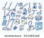 cleaning supplies doodle on... | Shutterstock .eps vector #521583160