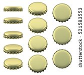 gold beer bottle caps 3d... | Shutterstock . vector #521583553