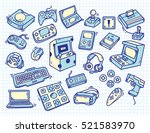 set of vintage video game... | Shutterstock .eps vector #521583970