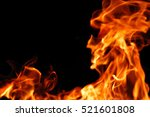 burning fire flame on the black ... | Shutterstock . vector #521601808
