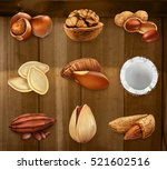 nuts in the shell. peanuts ... | Shutterstock .eps vector #521602516