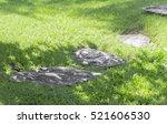 Granite Rock Path On Green Yar...