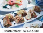 beautifully decorated catering... | Shutterstock . vector #521616730