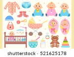 baby flat icons set.  | Shutterstock .eps vector #521625178