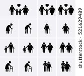 elder and family icons set. old ... | Shutterstock .eps vector #521629489