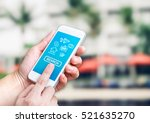 hand holding mobile with search ... | Shutterstock . vector #521635270