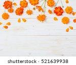 Orange Summer Flowers On White...