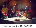 romantic dinner setup or... | Shutterstock . vector #521640139