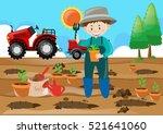farm scene farmer planting tree ...   Shutterstock .eps vector #521641060