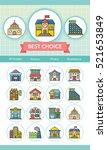 icon set building vector | Shutterstock .eps vector #521653849