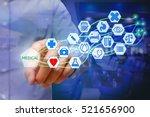 asian young man pressing... | Shutterstock . vector #521656900