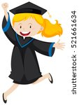 girl in black graduation gown... | Shutterstock .eps vector #521661634