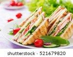 club sandwich with chicken... | Shutterstock . vector #521679820