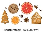 christmas holiday sweets set.... | Shutterstock .eps vector #521680594