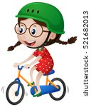 Little Girl Riding Bike With...
