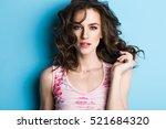close up fashion portrait woman ...   Shutterstock . vector #521684320